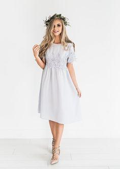 Womens style: Lavender Crochet Midi Dress JessaKae New Arrival. Modest Dresses, Cute Dresses, Ladies Dresses, Crochet Midi Dress, Crochet Shoes, Dress Skirt, Dress Up, Womens Workout Outfits, Easter Dress
