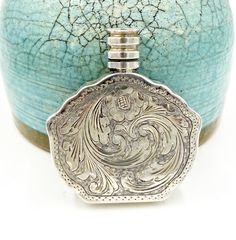 Excited to share the latest addition to my #etsy shop: Vintage SILVER PERFUME BOTTLE Flask Art Deco Era 800 Sterling Silver Bright Cut Floral Scrolls Perfume Bottle Firenze Italy