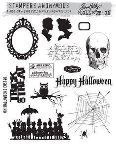 Mini Halloween - Tim Holtz for Stamper's Anonymous  I don't use Halloween stamps usually, but the skull and the line of kiddies might have their uses.