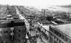 Looking down Forsyth Street at a devastated district after the fire of 1901
