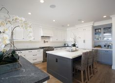 White Kitchen Grey Island beautiful white kitchen with blue backsplash | cool kitchens
