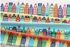 "Scandinavian Style ""Four Season of Amsterdam"" Illustration Panel Fabric"