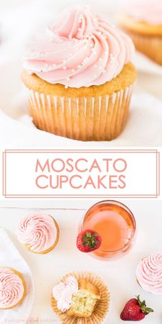 Moscato cupcakes are vanilla cupcakes with buttercream frosting spiked with strawberry wine. They are fluffy, moist cupcakes with a hint of strawberry flavor. Make them for bachelorette parties, girls' night out, birthdays or the holidays! Buttercream Frosting For Cupcakes, Moist Cupcakes, Yummy Cupcakes, Chocolate Cupcakes, Gormet Cupcakes, Flavored Cupcakes, Fluffy Frosting, Amazing Cupcakes, Lemon Frosting