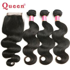 Peruvian Body Wave Lace Closure With Hair Bundles 4pcs lot Virgin Peruvian Human Hair With Closure Weave Queen Hair Products