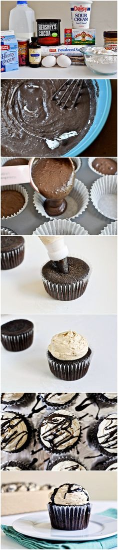 Peanut Butter Stuffed Hot Fudge Cupcakes