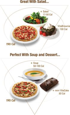 VitaPizza: Serving Suggestions with Salad, Soup and dessert!