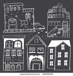 Hand drawn house pattern, village houses. - stock vector Design Your Home, House Design, Post Modern Architecture, Chalk Design, Interesting Buildings, House Drawing, First Humans, Village Houses, Postmodernism