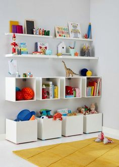 Stunning Playroom Storage Design Ideas for your Kids Room Organization. If you have a playroom, you do not have to worry about your kids just plummeting before watching television or computer. Creative Toy Storage, Diy Toy Storage, Storage Design, Wall Storage, Cube Storage, Book Storage, Toy Storage Solutions, Large Toy Storage, Storage Stool
