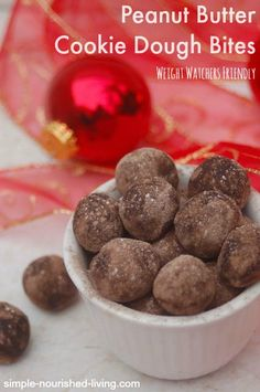 No Bake Peanut Butter Cookie Dough Bites from the most recent #WeightWatchers magazine. Simple and Delicious with just 32 calories and 1 Points Plus each!! http://simple-nourished-living.com/2014/12/no-bake-peanut-buttery-cookie-dough-balls-gift-card-giveaway/