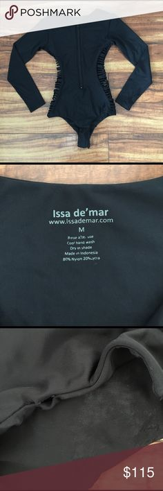 Issa de mar MAKENA swimsuit🖤 Purchased from another posher never worn by me. Hard to get a hold of style!!!!! Super sad runs EXTREMELY small!! Best fit size XS-S...suit size is Medium. Purchased suit having two areas where stitching has come undone. And notice a shinny texture shown in the picture inside the suit. Unnoticed in person. More defined in picture. Just looking to get money back. Beautiful suit!!!! $90🅿️🅿️ f&f or g&s fee added into purchase. Issa de mar Swim One Pieces