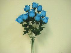 """Blue Turquoise Rose Buds Bush Artificial Flowers 17"""" Bouquet 14-643Tq"""