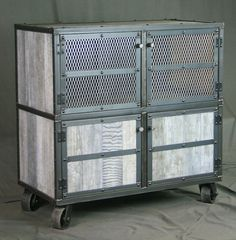 Vintage Industrial Bar Cart with White Wash Finish from Combine9 - Combine9.com