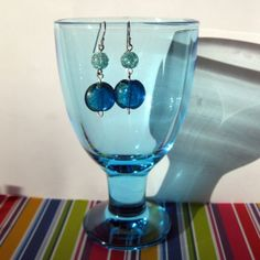 Earrings in shades of blue with silver coloured by SaijaSkills, €8.00