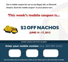This weekend get 2 dollars off nachos at Regal. Signup on the FB page to get coupon. Weekend Deals, Fb Page, Nachos, Coupons, Learning, Phone, Telephone, Studying, Coupon