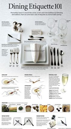 I guess its good to know lol -Desire Dining Etiquette 101 - Instructions on how to properly set a table, the uses of each kind of glass, utensil, etc., and general etiquette tips. Dining Etiquette, Etiquette Dinner, Table Setting Etiquette, Tea Etiquette, Etiquette And Manners, Info Board, Table Manners, Do It Yourself Home, Decoration Table