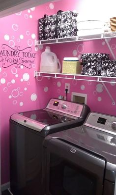 What a great laundry room idea !!! Thirty-one for the organizing totes. Etsy for the the decals :)