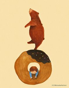 sometimes... I am the bear overcoming the donut, sometimes I am the chubby kid succumbing to the donut... and sometimes I am just a goddamn donut.