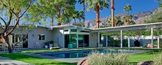 Like the veranda connected to the house at the end of the pool - Palm Springs mid-century modern, Alexander homes in Palm Springs. Sunmore Estates.