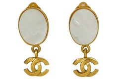 Chanel Mother-of Pearl-Logo Earrings