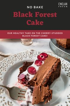 Our healthy take on the cherry-studded black forest cake is a multi-layer frozen cake! The recipe uses tofu instead of cream to lower calories, fat and cholesterol.