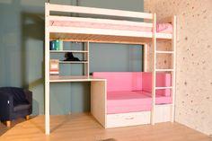 Hoogslaper met zitbank inclusief rozekleurige kussenset en bureau