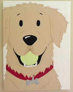 :) Signed and dated ORIGINAL one and only painted golden retriever pup with ball and collar by Artist Megan Brothers on canvas. Golden Retriever Cartoon, Dogs Golden Retriever, Golden Retrievers, Cartoon Dog, Cartoon Drawings, Dog Cartoons, Dog Face Drawing, Dog Illustration, Retriever Puppy
