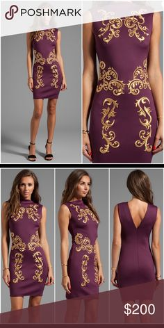 Clover Canyon Embroidered Neoprene Dress Merlot Sleeveless neoprene dress with metallic gold decorative embroidery. Unlined and dry clean only Clover Canyon Dresses Mini