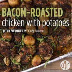Bacon-Roasted Chicken with Potatoes - Sheet Pan Suppers - Duck Recipes, Potato Recipes, Baby Food Recipes, Cooking Recipes, Roasted Chicken And Potatoes, Roasted Chicken Thighs, Chicken Drumstick Recipes, Chicken Thigh Recipes, Baby Dutch Yellow Potatoes Recipe