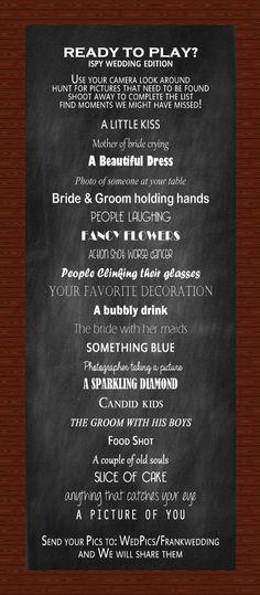 Fun I SPY Wedding Reception Game
