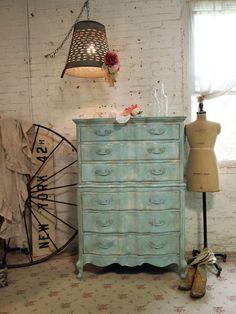 Painted Cottage Chic Shabby Aqua Romantic Dresser CH364