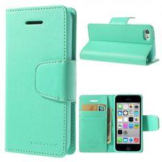 Apple iPhone 5C Syaani Goospery Lompakkokotelo  http://puhelimenkuoret.fi/tuote/apple-iphone-5c-syaani-goospery-lompakkokotelo/