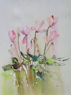 Cyclamens ballerines (Fleurs aquarelle - Flowers watercolor)