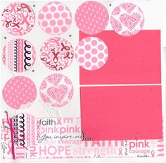 Scrapbooking Kit, 2 Page Layout, Fighter - Breast Cancer Pink Ribbon by CropALatteToGo on Etsy