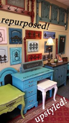 FLF Repurposed & Upsytled! Pieces on display at Facelift Furniture. Coat & towel racks made from dresser drawer fronts, cabinet doors, and headboards! From Facelift Furniture's Repurposed Wall Pieces collection.