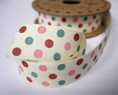 6 metres of spotty polkadot ribbon - pink, blue, red on ivory - 18mm wide