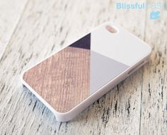 iphone 4 case - gray color with wood block print