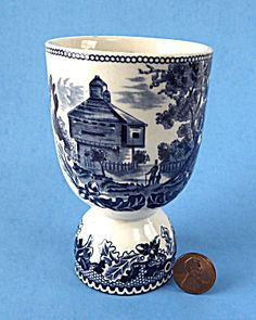Blue Transferware Double Eggcup Historic America Johnson Brothers