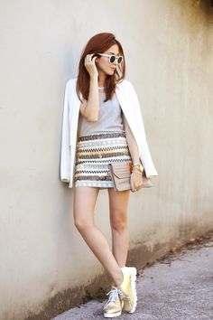 casual chic. neutral tones with metallic details.