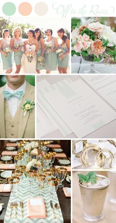 Mint and Peach Kentucky Derby Wedding Inspiration Board. Classic wedding ideas inspired by the Kentucky Derby.