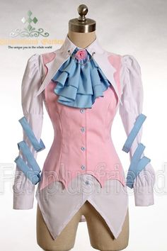 Gothic Punk Dandy Ouji Bat False 2Pcs Shirt Vest, available in pink and blue, black or red/black. $67 Fan Plus Friend.