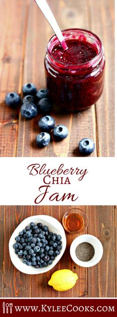 Delicious not-too-sweet Blueberry Chia Jam that is easy to make, and ready to eat in just 30 minutes! Just 4 ingredients!