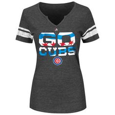Chicago Cubs Majestic Women's Go Cubs Sleeve Stripes T-Shirt - Charcoal