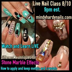 LIVE NAIL ART CLASS TONIGHT  9PM!! Sign up to watch at  MINDYHARDYNAILS.COM  LESS THAN 1 HOUR WE GO LIVE!
