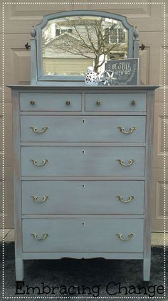 Shutter Blue Highboy - Miss Mustard Seed Milk Paint in Shutter Grey - Embracing Change blog