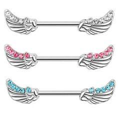 Angel Wings Gemstone Nipple Bar