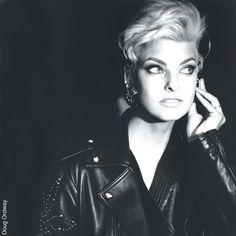 Supermodel Linda Evangelista.   Backstage for Versace Runway Show 1991