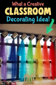 I usually share unique classroom bulletin board ideas for teachers, but I just LOVE this clever classroom decorating idea - cute for Pre-K, Art Class, Kindergarten or ANY school room windows! / What a Creative / Classroom / Decorating Idea! Kindergarten Classroom Decor, Preschool Rooms, Classroom Decor Themes, New Classroom, Classroom Design, Classroom Displays, Creative Classroom Ideas, Decorating Ideas For Classroom, Teacher Room Decorations