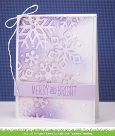 Lawn Fawn - Stitched Snowflakes, Deck the Halls, Silver Sparkle Lawn Trimmings_ card by Yainea for Lawn Fawn Design Team