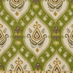 Swavelle/Mill Creek Katandra Ikat Avocado from @fabricdotcom  Screen-printed on a linen/rayon blend fabric, this versatile medium/heavy weight fabric is perfect for window treatments (draperies, valances, curtains and swags), toss pillows, duvet covers, slipcovers, upholstery and tote bags. Colors include gold, brown, sage and ivory on an avocado background.