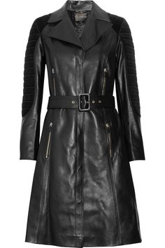 VERSACE  Quilted corduroy-paneled leather trench coat